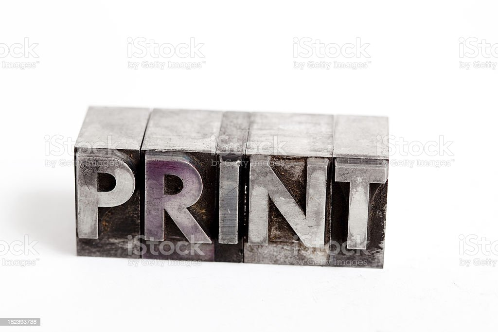 PRINT inscription close-up, block letters royalty-free stock photo