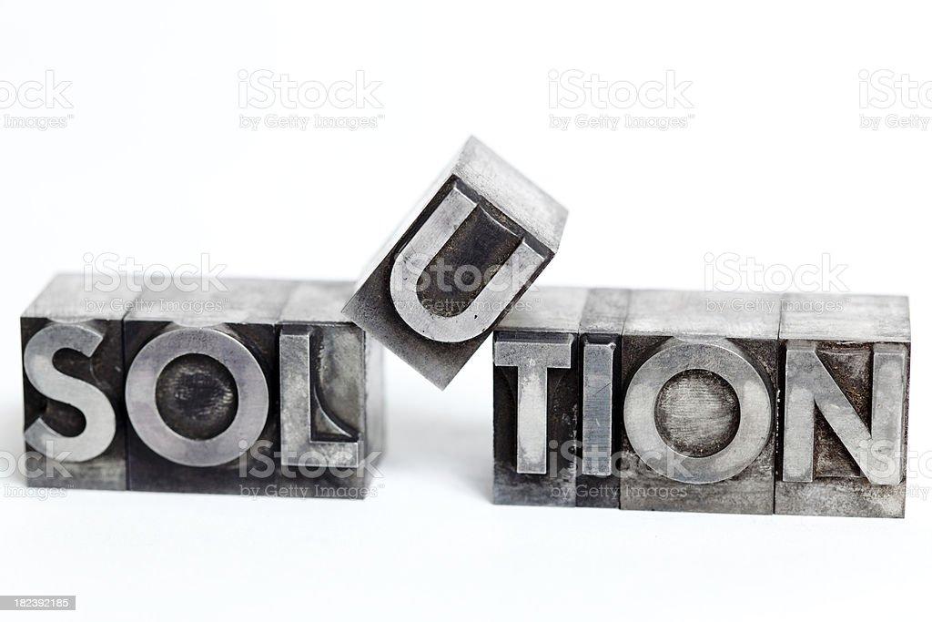 SOLUTION inscription close-up, typescript fonts stock photo