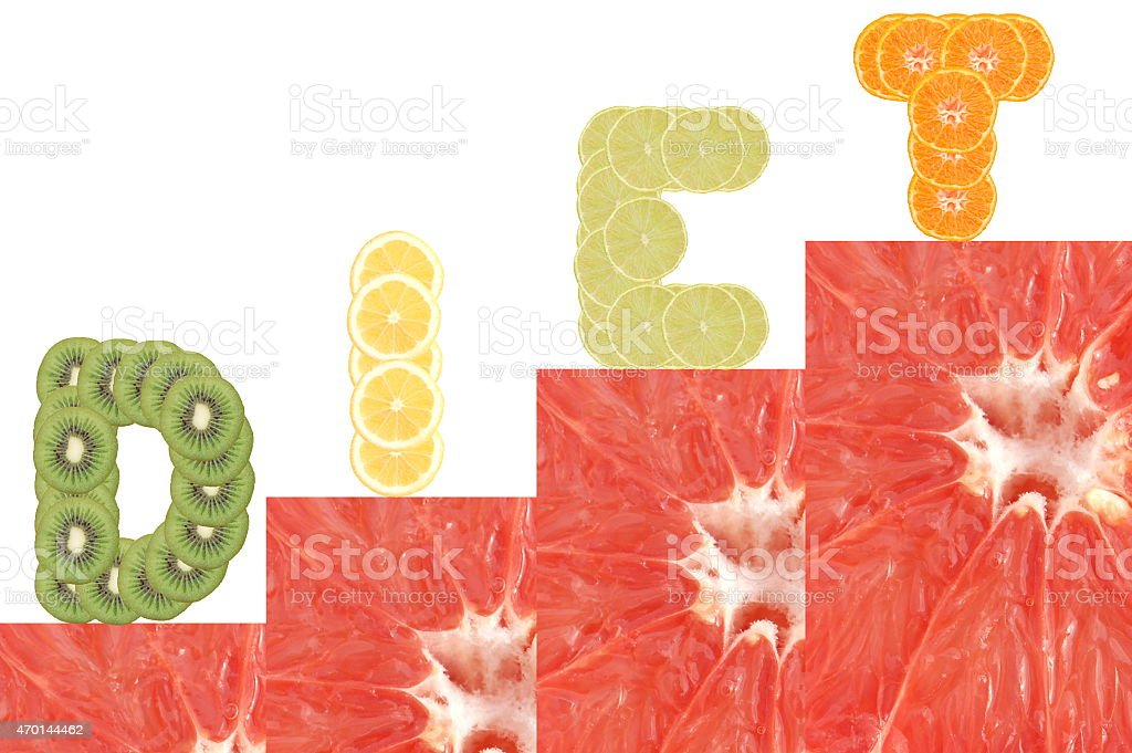 Inscription diet on stairs made of slices of tropical fruits stock photo