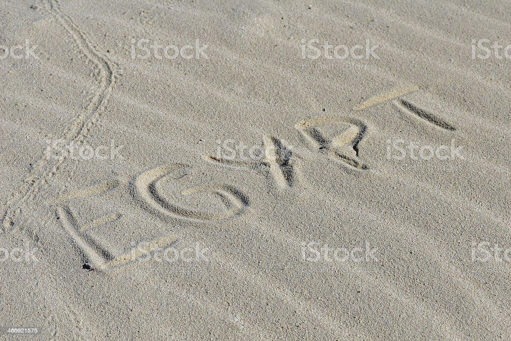 Inscription ' Egypt' on a sand. royalty-free stock photo