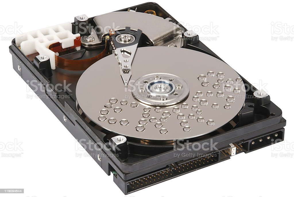 Inscription error on HDD drops of water stock photo