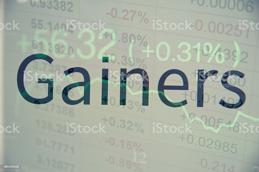 Inscription 'Gainers' on PC screen stock photo