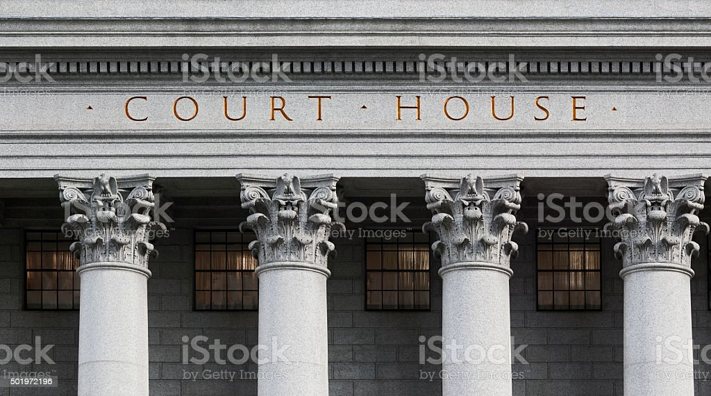 inscription on the courthouse stock photo