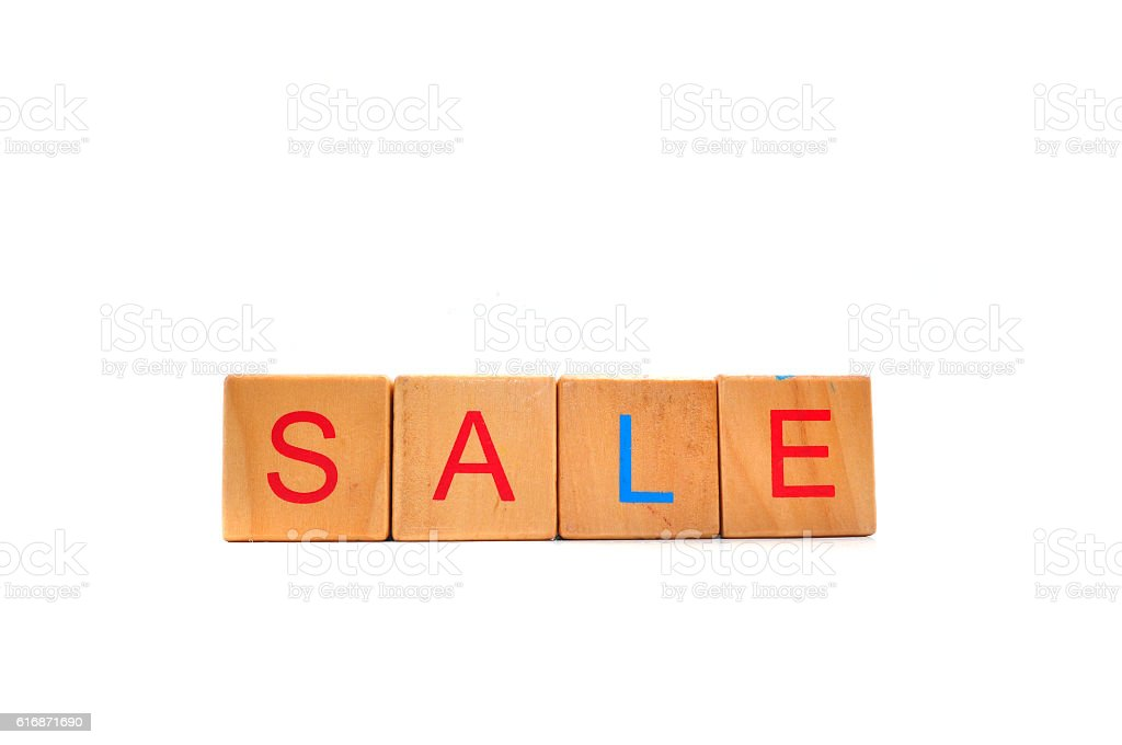 Inscription on the wooden cubes, sale stock photo