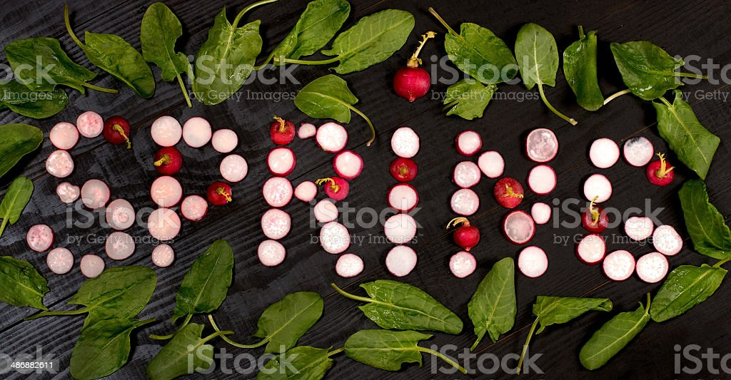 Inscription 'spring' of radishes royalty-free stock photo
