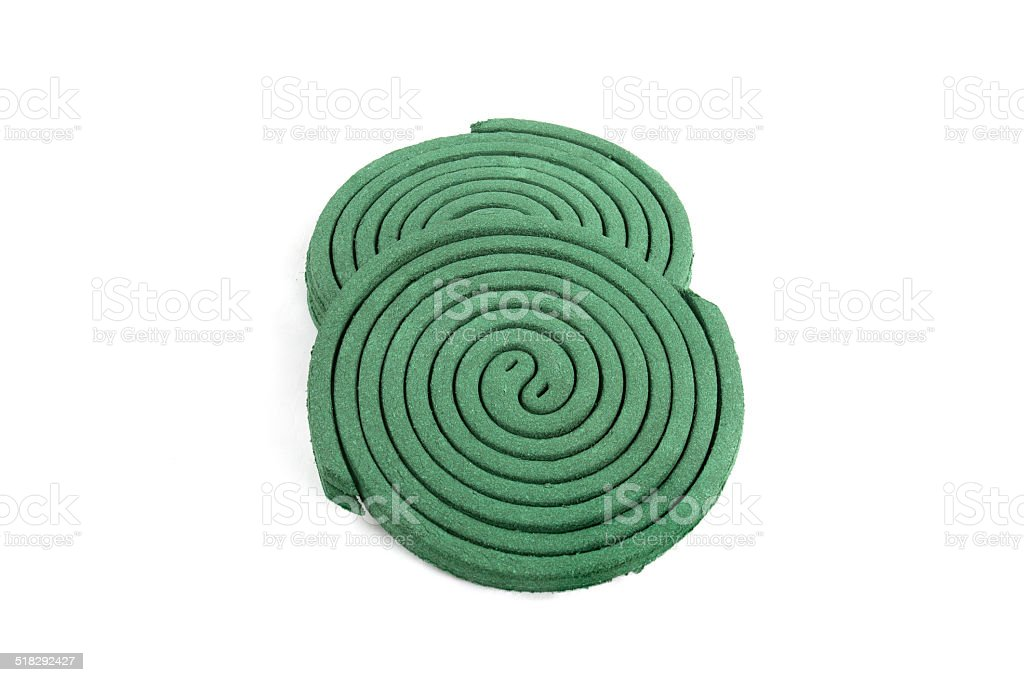 Insect repellant coil on white background stock photo
