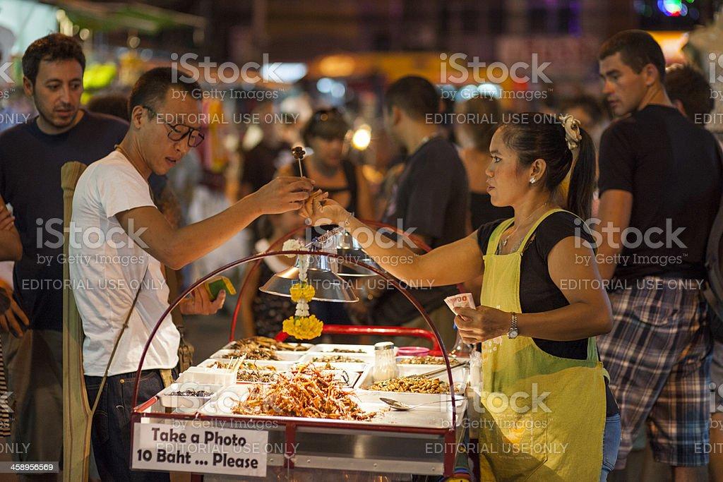 Insect seller, Khao San Road, Bangkok, Thailand stock photo