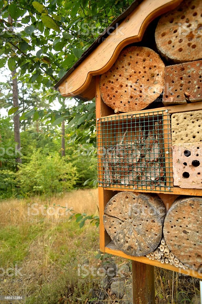 Insektenhotel in Wald - Insect hotel in the forest stock photo