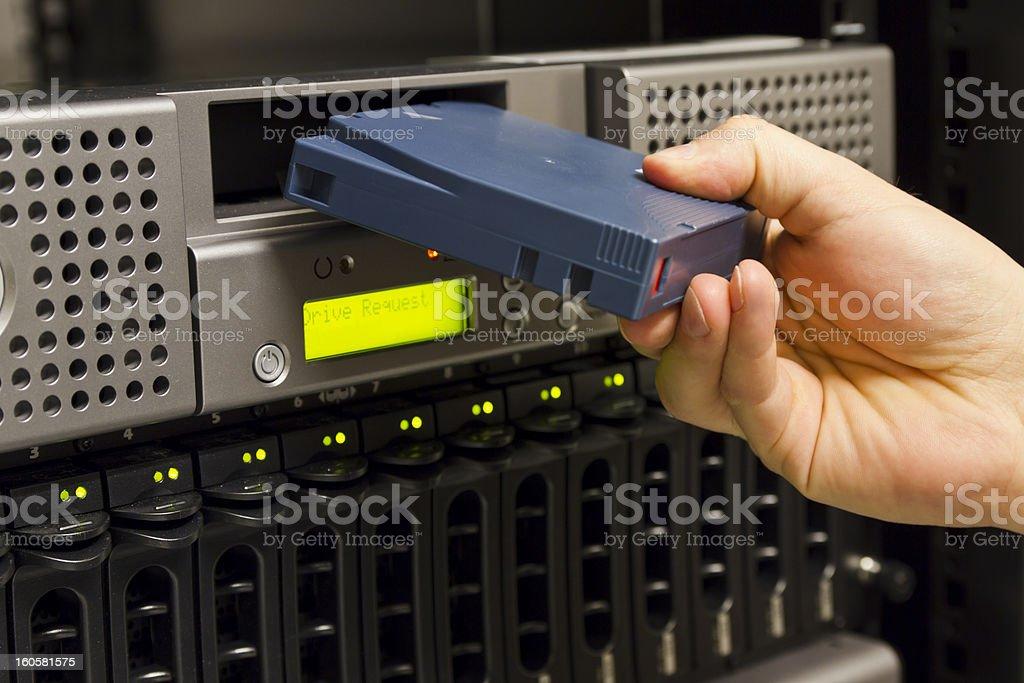 Insert Backup Tape stock photo