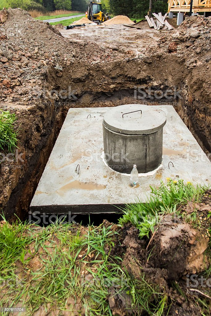 insert concrete septic septic tank stock photo