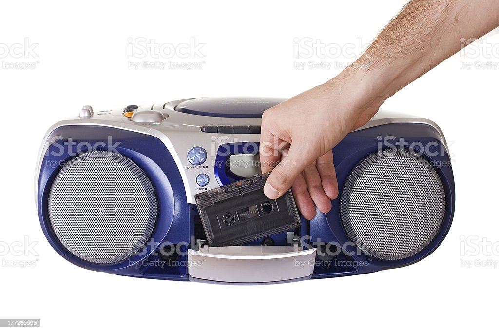 Inserting a cassette stock photo