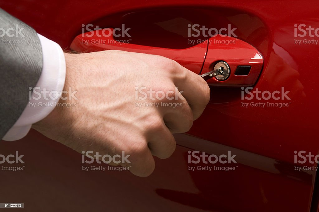 Inserting the car key royalty-free stock photo