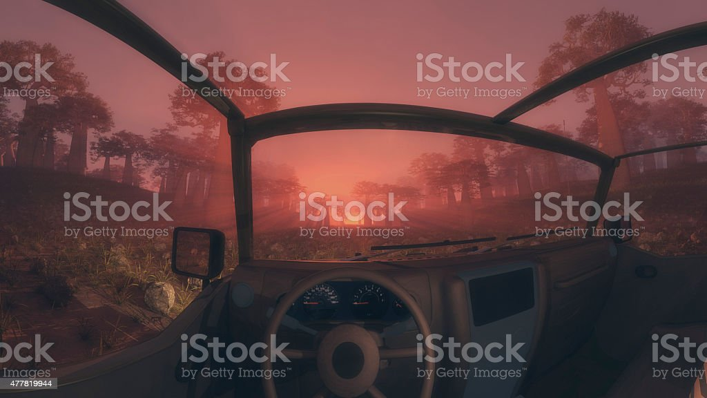 Inside a 4x4 vehicle at sunrise or sunset stock photo