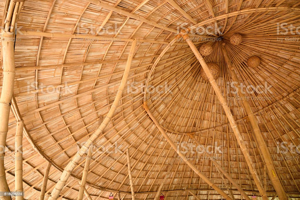 Inside a bamboo shingle roof stock photo