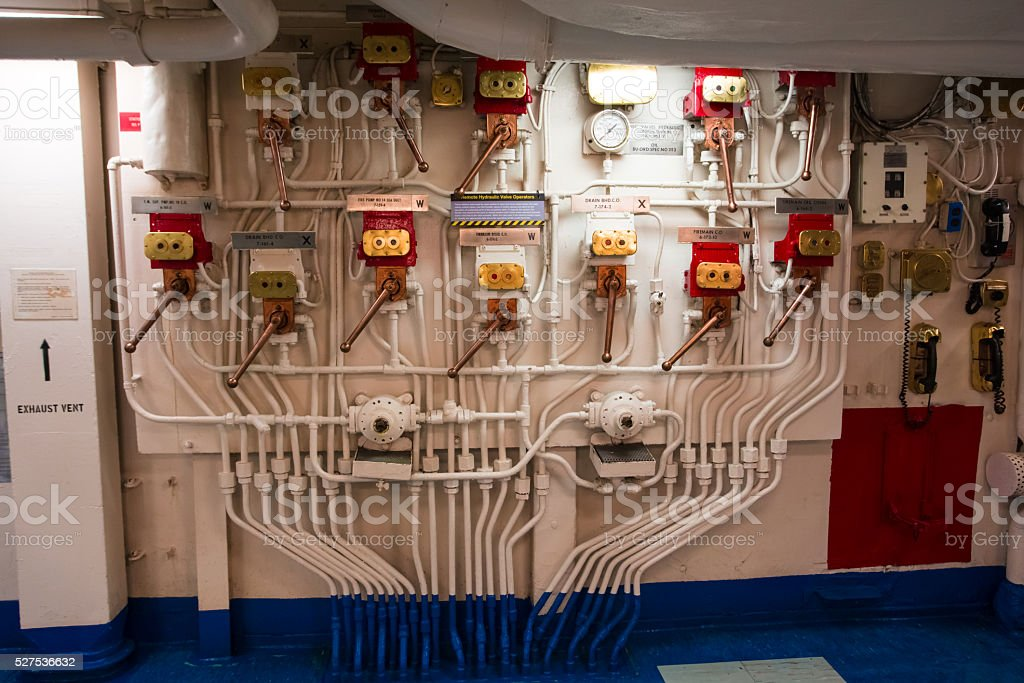 Inside a battle ship main engine room stock photo