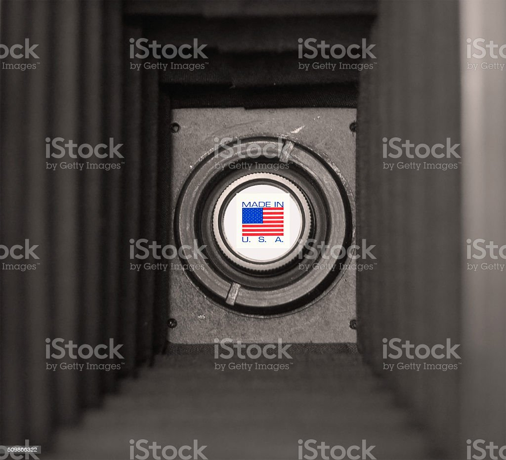 Inside a box camera with symbol- Made in USA stock photo