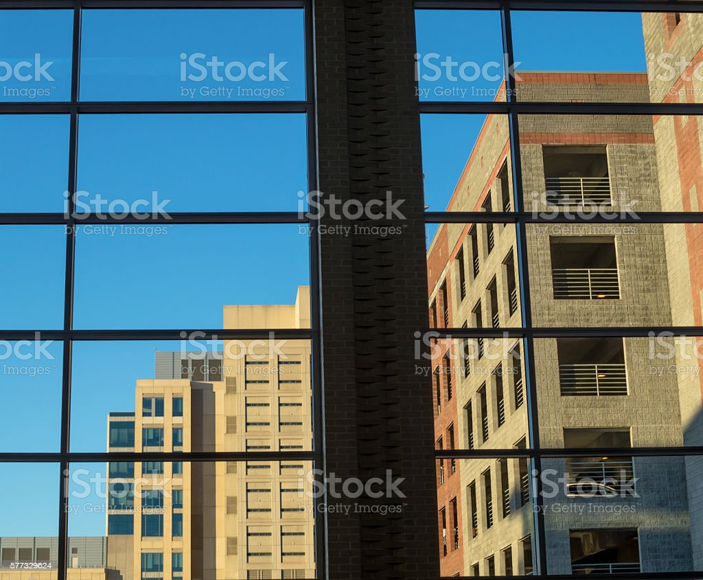 Inside a building looking out stock photo