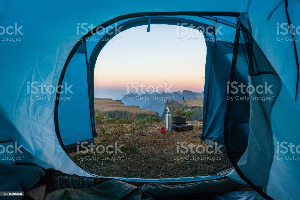 Inside a camping tent, looking to Espraiado Canyon stock photo