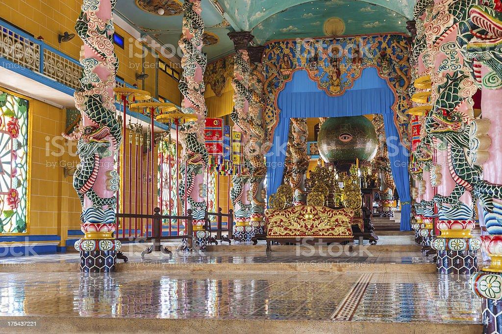 Inside a Caodai temple near Ho Chi Minh City, Vietnam stock photo