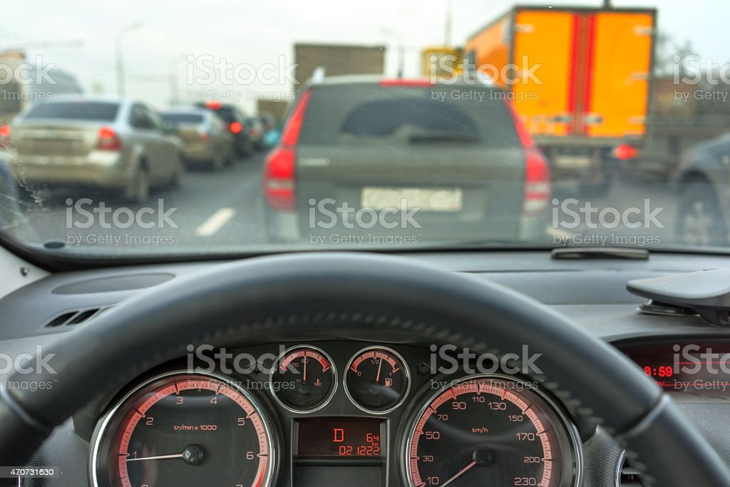 Inside a car stock photo