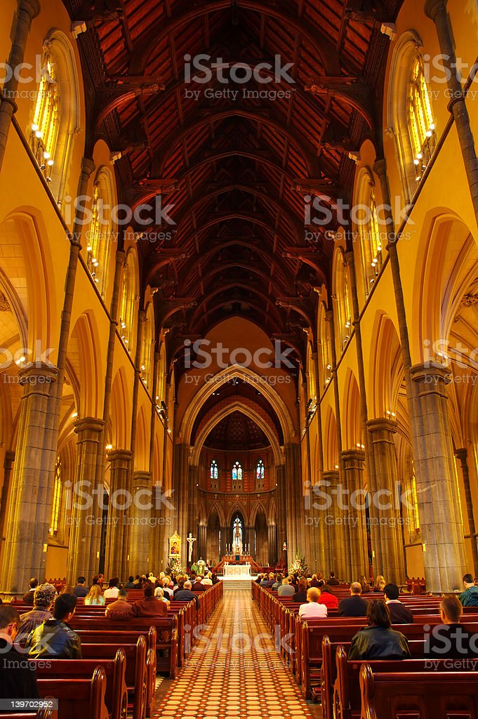 Inside a cathedral stock photo