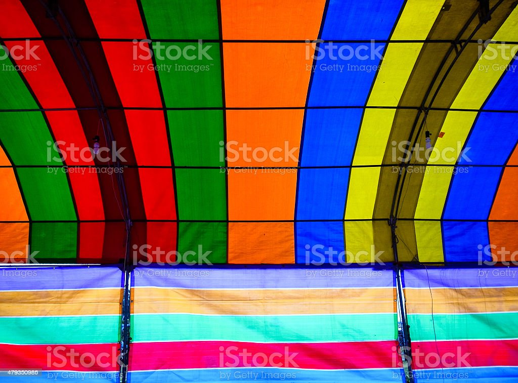 Inside a colorful tent. stock photo