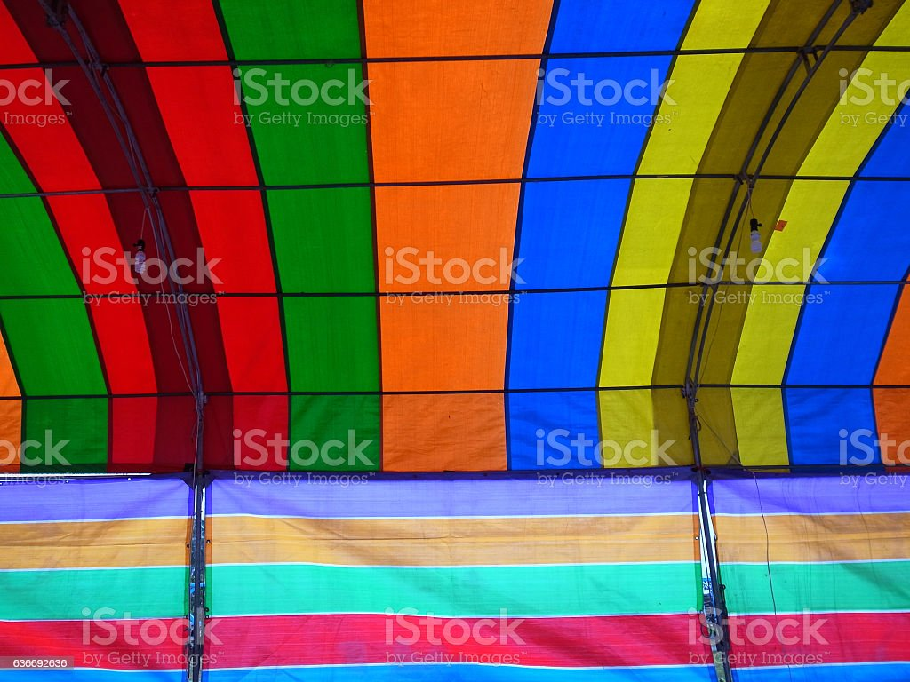 Inside a colorful tent stock photo