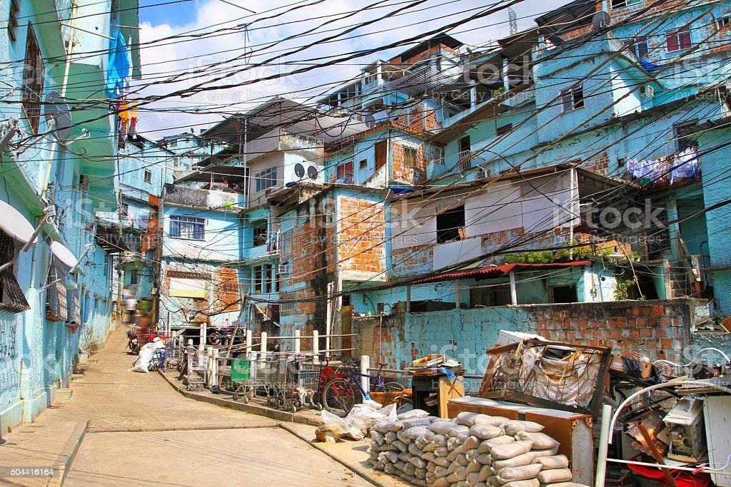 Inside a favela in Rio de Janeiro stock photo