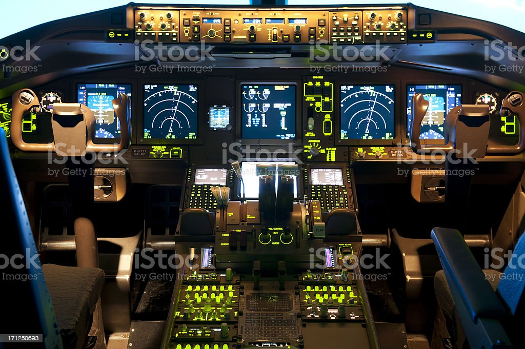 Inside a flight simulator stock photo