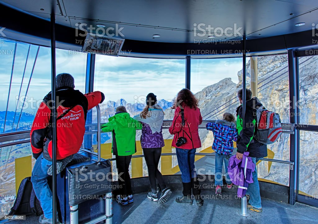 Inside a gondola of the Rotair cable car in Switzerland stock photo