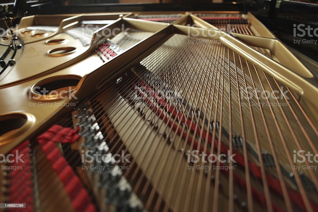 Inside a grand piano stock photo
