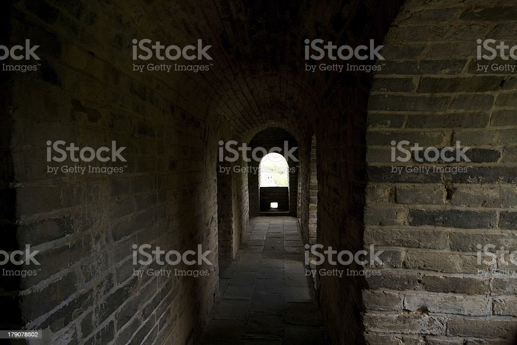 Inside a Guardhouse on the Great Wall, Near Beijing, China royalty-free stock photo