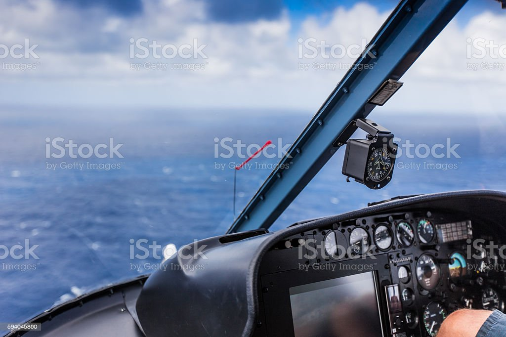 Inside a helicopter chopper cabin stock photo