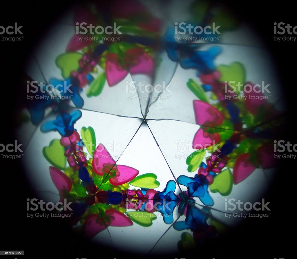 Inside a kaleidoscope, abstract images in blue, green, pink stock photo
