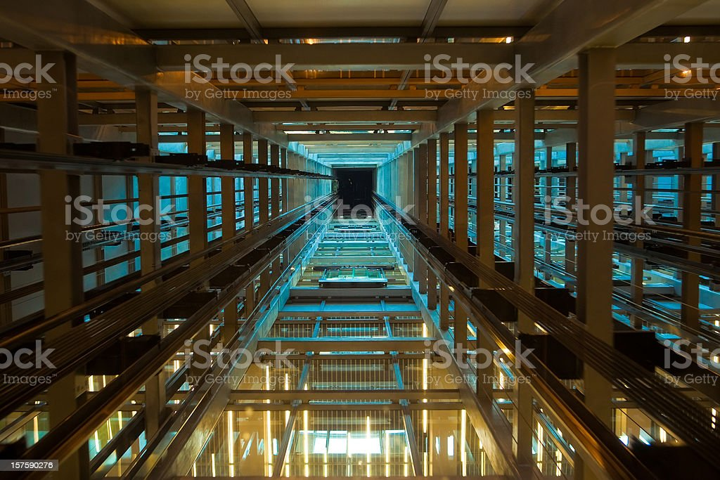 Inside a modern elevator shaft stock photo