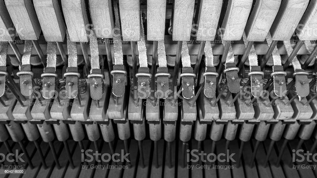 inside a piano, wooden parts, mechanisms closeup stock photo