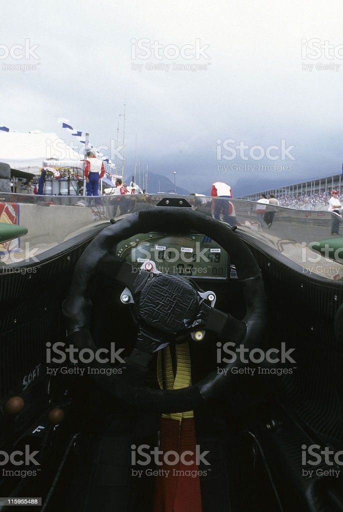 Inside a race car stock photo