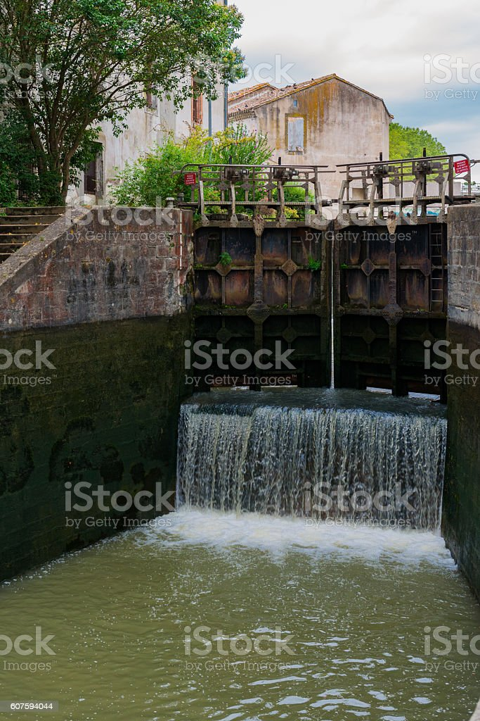 inside a river lock at canal du midi stock photo