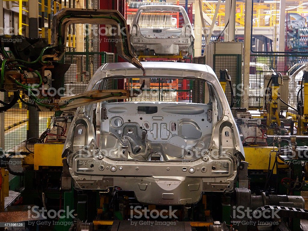 Inside a robotic car manufacturing plant stock photo