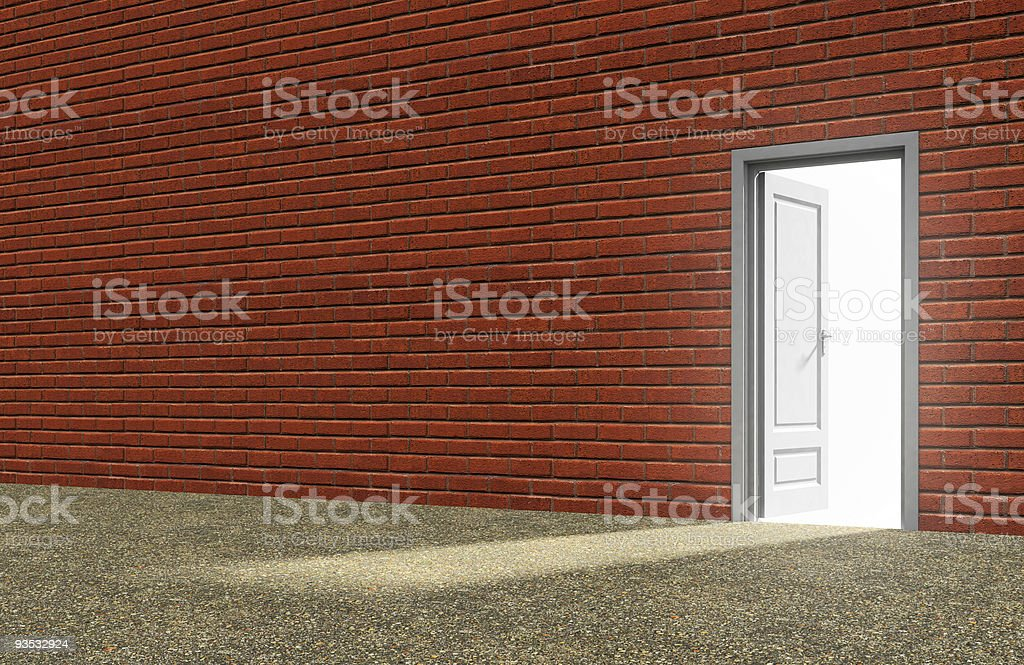 Inside a room with opened door royalty-free stock photo