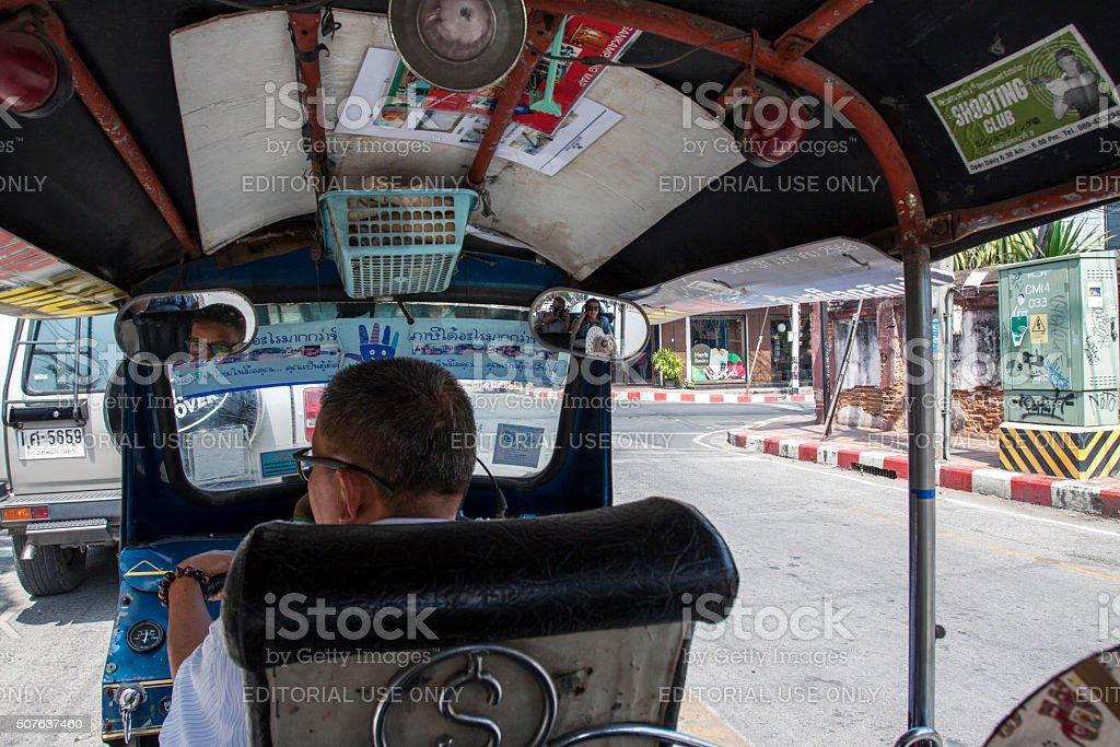 Inside a Thai Tuk-tuk in Chiang Mai stock photo