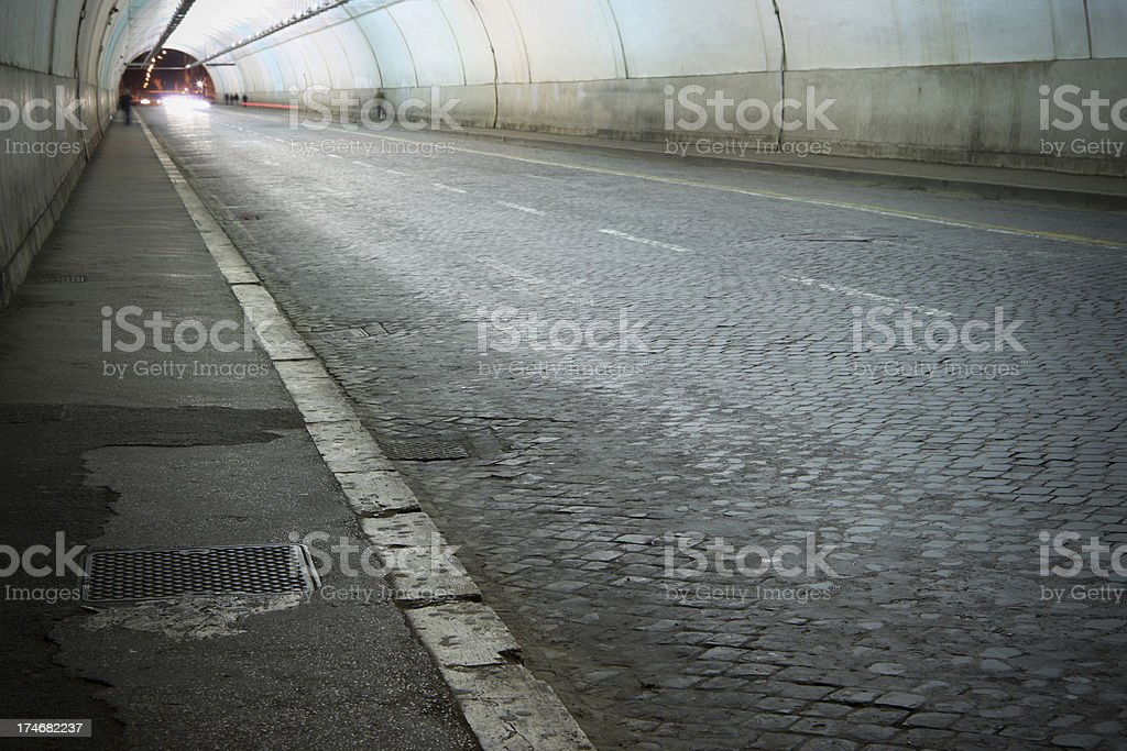 Inside a tunnel at night royalty-free stock photo