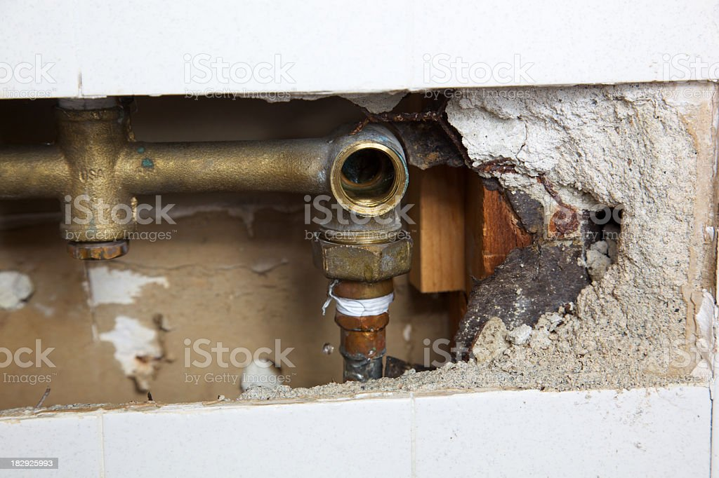 Inside a Wall of Shower to Fix Leak royalty-free stock photo