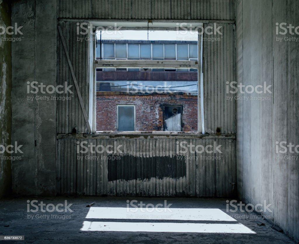 Inside abandoned factory stock photo