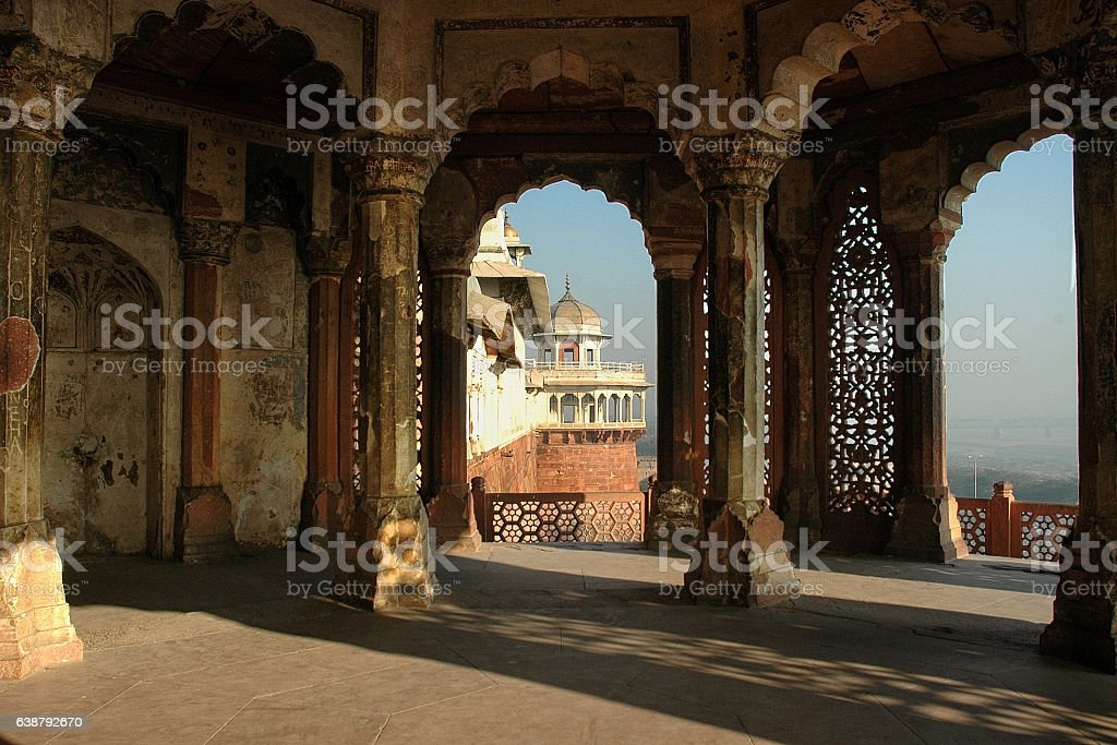 Inside Agra Fort stock photo