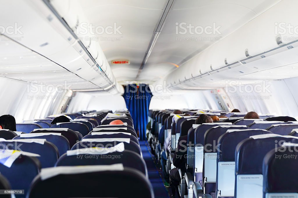 Inside airplane view stock photo