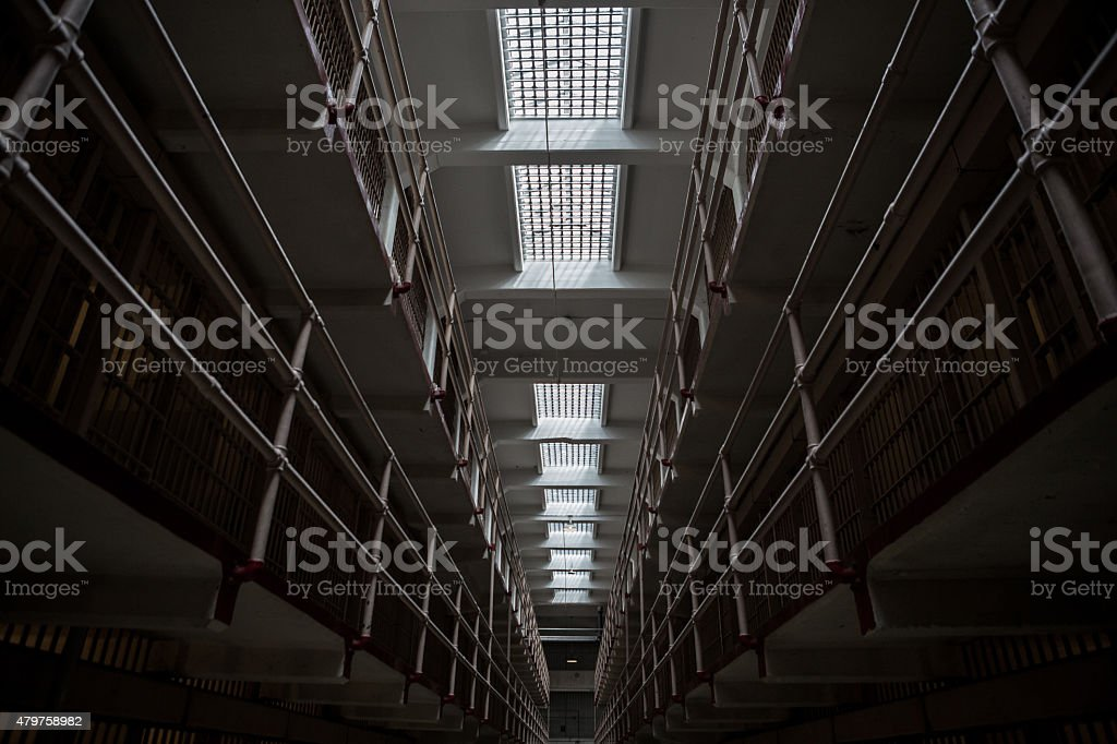Inside Alcatraz Jail Cells stock photo