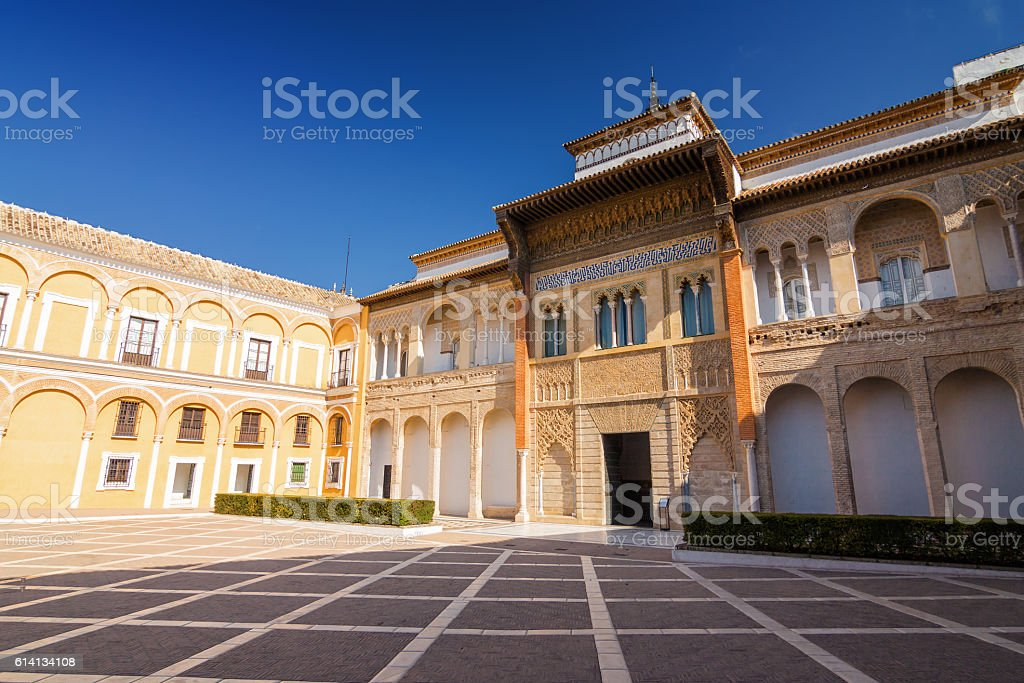 Inside Alcazar palace, Andalusia province. stock photo