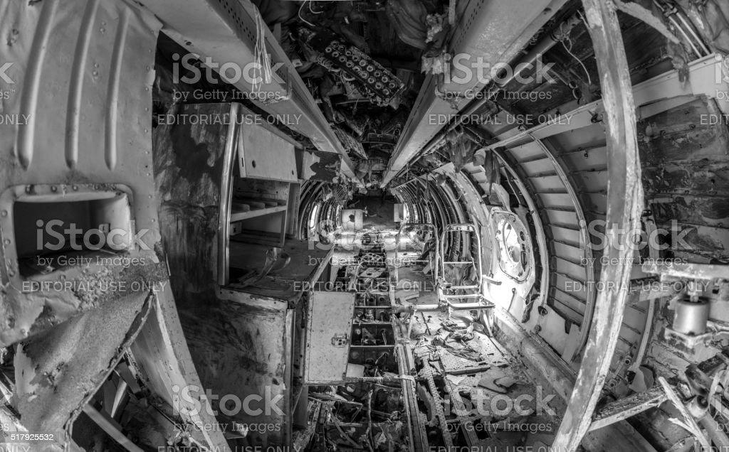 Inside an abandoned soviet plane stock photo