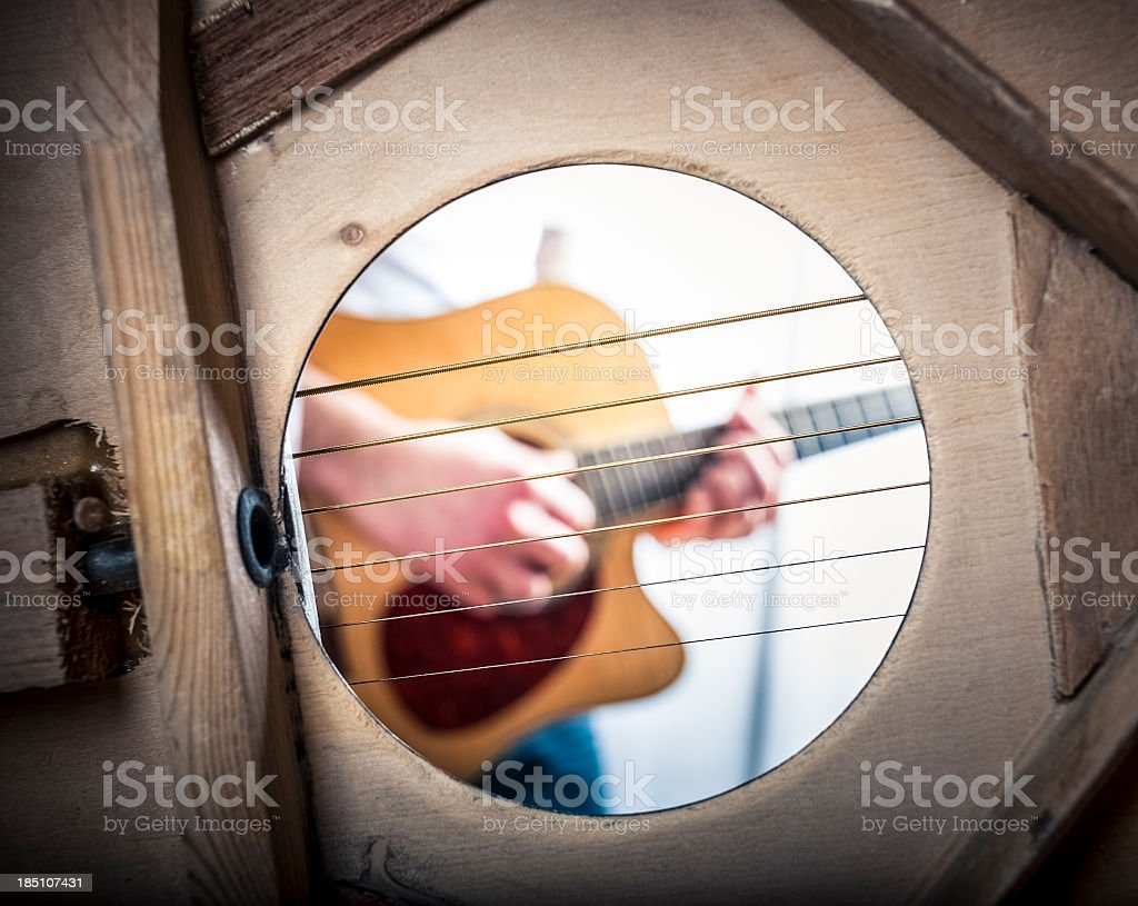 Inside An Acoustic Guitar, Sound Hole stock photo